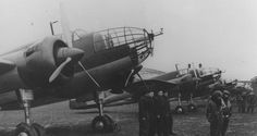 """The group of bombers PZL """"Los"""" with the crews shortly before the war. Military Aircraft, Poland, Air Force, Fighter Jets, British, Black And White, Wings, Group, Old Pictures"""
