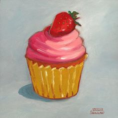Featured Paintings - Pink Strawberry Cupcake by Susan Thomas