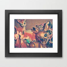 dear deer Framed Art Print by Vintage  Cuteness - $31.00 #doe #deer #fawn #bambi #vintage #brown #cute #kawaii #pretty #collection #framed #print