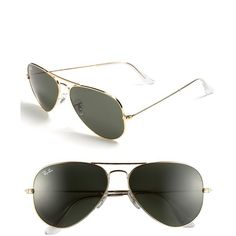 7c5f498c9bd Ray-Ban  Aviator Classic  Sunglasses with Crystal Green Solid Color Lenses