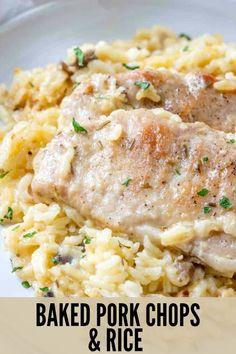 Pork Recipes For Dinner, Pork Chop Recipes, Meat Recipes, Cooking Recipes, Baked Pork Chops And Rice Recipe, Chops Recipe, Pork Chop Casserole, Casserole Recipes, Crockpot