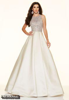 Prom dresses by Paparazzi Prom Beaded Net on Larissa Satin Zipper Back Closure. Colors Available: Aqua, Champagne