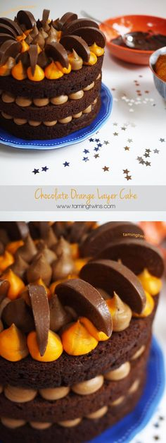 Chocolate Orange Layer Cake - The perfect alternative to a festive fruit cake for Christmas. Lovely layers of chocolate, sandwiches with orange flavoured chocolate buttercream. It's not Terry's... It's mine!
