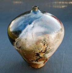 Blue - vase - Christina P. Carlson - cpcarlsonpottery: PIT, SAGGAR & RAKU FIRED POTTERY