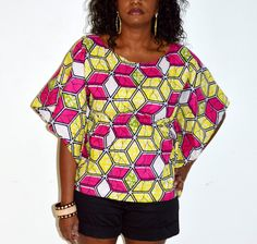 Pink And Yellow  African Ankara Print Blouse by ZabbaDesigns, $35.00 #AfricaFashion #AfricanPrints