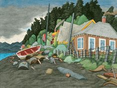 Houses, Qualicum Beach, watercolour on paper - E. Emily Carr, Art Houses, Group Of Seven, Colorful Paintings, Canadian Artists, Vancouver Island, Home Art, Watercolour, Art Projects