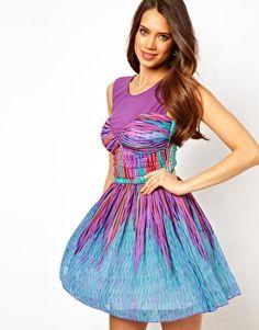Lipsy Strobe Print Prom Dress with Mesh Top