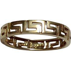 14K Gold Greek Key Wedding Band ~ Cut-Out Design