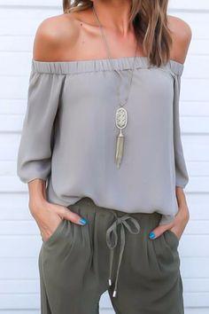 Grey Off The Shoulder Tied Back Chiffon Shirt