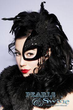 """SpellBound"" Half Mask Fascinator Black Velvet Lace Feather Masked Ball Accessories <3"