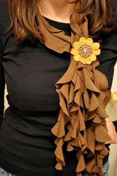 Twirly Brown T Shirt Scarf by ArtTx on Etsy