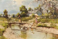 Cottage Art, Flocking, Oil On Canvas, Landscape, Artwork, Painting, Women, Paisajes, Scenery