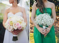 bouquets, babies breath for bridesmaids
