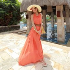 Casual cute loose round neck long maxi dresses MF-5207