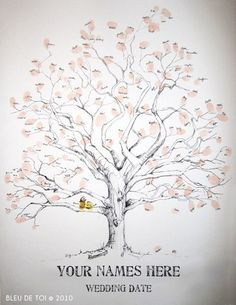 Wedding <b>Fingerprint</b> <b>Tree</b> Guest Book