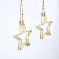 Cut out Star Gold Thread Earrings