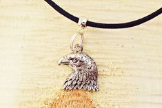 Silver Eagle Necklace | Eagle Head Necklace | Mens Black Cord Necklace | American Bald Eagle Jewelry Simple Necklace, Men Necklace, Pendant Necklace, Eagle Head, Bald Eagle, Be Your Own Kind Of Beautiful, Silver Eagles, Handmade Necklaces, Necklace Lengths