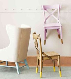 dipped furniture legs - great way to add a splash of color or refresh nicked legs. Dipped Furniture, Furniture Legs, Furniture Makeover, Painted Furniture, Chair Makeover, Cottage Furniture, Distressed Furniture, Furniture Online, Furniture Stores