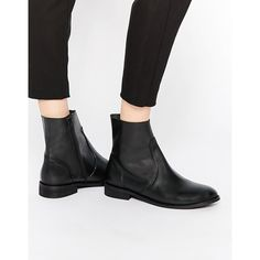 ASOS ALOUD Leather Chelsea Boots ($72) ❤ liked on Polyvore featuring shoes, boots, ankle booties, black, beatle boots, black leather ankle booties, chelsea boots, real leather boots and black boots