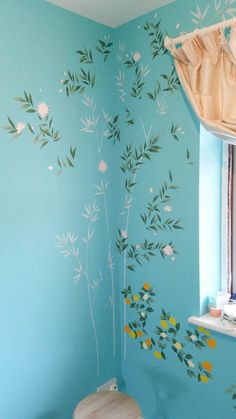 Painting A Chinoiserie Nursery - The Entire Process — Diane Hill Design Chinese Wallpaper, Bold Wallpaper, Print Wallpaper, Simple Wall Paintings, Wall Painting Decor, Painted Branches, Wall Drawing, Room Paint, Textured Walls