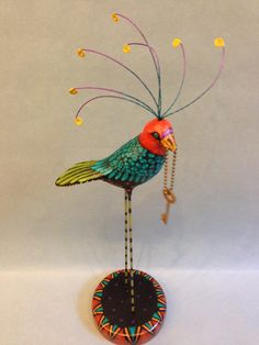 "WhippleBird with Vintage Key.  14 1/8"" tall $420 one of a kind folk art bird on round base"