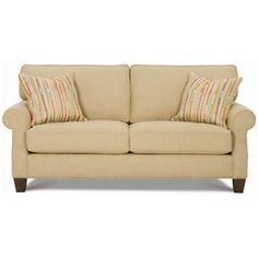 Kimball  Loveseat with Rounded Arms & Exposed Wood Legs by Rowe at Darvin Furniture