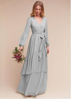 Fashion dresses - Exquisit Chiffon Vneck Long Sleeves Aline Bridesmaid Dresses With Belt – Fashion dresses Trendy Dresses, Modest Dresses, Prom Dresses, Formal Dresses, Chiffon Dresses, Chiffon Gown, Bridesmaid Dresses Long Sleeve, Long Sleeve Chiffon Dress, Wedding Dresses
