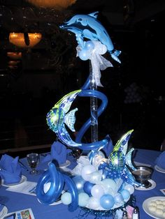 XV años tema delfines - Decoration For Home Dolphin Birthday Parties, Birthday Balloons, Under The Sea Theme, Under The Sea Party, Balloon Centerpieces, Balloon Decorations, Surfer Party, Sweet 16 Decorations, Daddy Daughter Dance