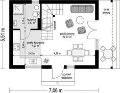 Projekt domu Sosenka drewniana 51,25 m² - koszt budowy - EXTRADOM Kitchen Design, Floor Plans, Cabin, Projects, Design Of Kitchen, Floor Plan Drawing, House Floor Plans