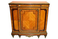A 19TH CENTURY FRENCH BRASS-MOUNTED BREAKFRONT KINGWOOD SIDE CUPBOARD, with marble inset top, ab