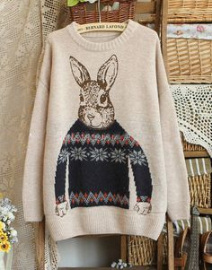 Cartoon Rabbit Vintage Sweater by BernardLafond on Etsy, $24.50 This sweater is committing sweatCEPTion