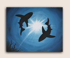 Acrylic Painting on Canvas : Shark Infestation  #AcrylicPainting #AcrylicPaintingOnCanvas #SilhouettePainting