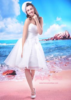 Organza Sweetheart A-line with Flowers/Draping Trendy Short Wedding Dress  $159.99