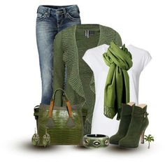 Love the olive color boots....