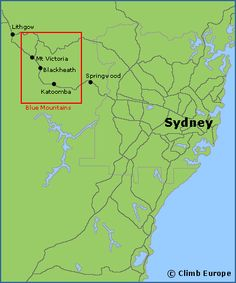 Map of the rock climbing areas around Sydney and the Blue Mountains