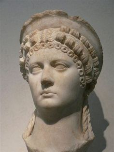 Portrait of Julio-Claudian empress thought to be Poppae Sabina, wife of the Roman Emperor Nero 1st century CE  