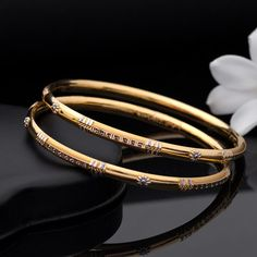 Kadli Bangles gms) - Fancy Jewellery for Women by Jewelegance Plain Gold Bangles, Gold Bangles Design, Gold Earrings Designs, Gold Jewellery Design, Diamond Jewellery, Fancy Jewellery, Gold Mangalsutra Designs, Gold Jewelry Simple, Store