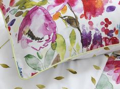 Devon bedlinen by bluebellgray - Scottish watercolour textile design by Fi Douglas. Watercolour painted florals on duvet cover and pillowcase inspired by an English country garden.