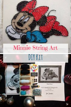 DIY Minnie Mouse String Art Kit, comes with everything you need to make this cute string art. #stringart #ad #wallart #walldecor #homedecor #girlsroom #kidsroom #giftideas #birthdaygifts #birthdaygirl #DIY #pattern #minniemouse #minnie #disney #disneystyle #handmade