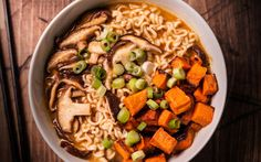 A vegan miso ramen with roasted vegetables recipe.