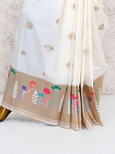 Shop Off white saree in semi silk fabric online from India. Tussar Silk Saree, Lehenga Saree, Saree Dress, Cotton Saree, Sari, Bollywood Saree, Sabyasachi, Bollywood Fashion, South Silk Sarees