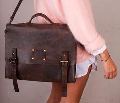 Dirty Harry Leather Bag-Dark Brown