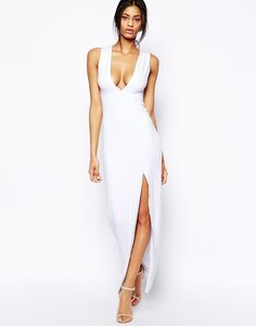 Enlarge ASOS Deep Plunge Split Maxi