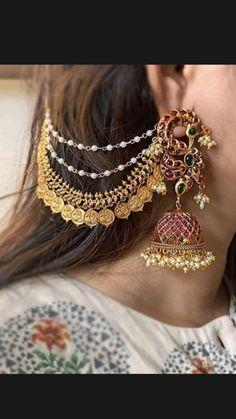 Bridal Jewellery Inspiration, Indian Bridal Jewelry Sets, Indian Jewelry Earrings, Jewelry Design Earrings, Gold Jewellery Design, Silver Jewelry, Antique Jewellery Designs, Stylish Jewelry, Saree