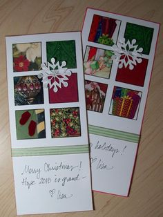 Window Christmas Card - - Punch squares out of old Christmas cards to decorate this window pane Christmas card. This clever idea is a great way to recycle those Christmas cards from last year. Christmas Card Crafts, Homemade Christmas Cards, Printable Christmas Cards, Old Christmas, Christmas Cards To Make, Holiday Greeting Cards, Christmas Photo Cards, Xmas Cards, Handmade Christmas