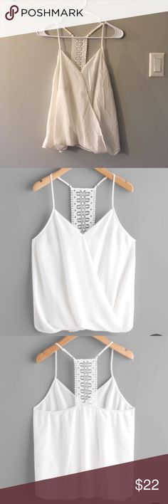 Surplice neckline crochet panel crop top 💋 Surplice neckline crochet panel crop top (white/off white) Shirt is new without tags!!  Length 57/64 CM Bust 90-112 CM One Size  Polyester. Tops Crop Tops
