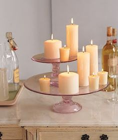 cake platter candle display