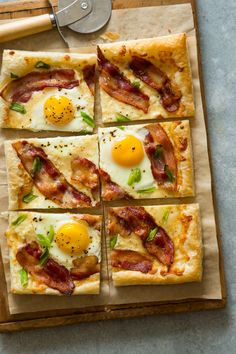 A recipe for Breakfast Tart with eggs, cheese, and bacon.  I would make 6 cheese wells & use an egg in each well so all portions have an egg.