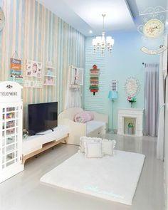 interior rumah bernuansa biru cerah bergaya shabby chic