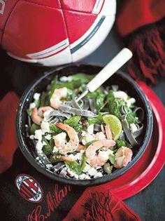 Jättikatkarapu-pinaattipasta Spinach Pasta, Pasta Salad, Pasta Recipes, Sprouts, Feta, Recipies, Asian, Cheese, Vegetables